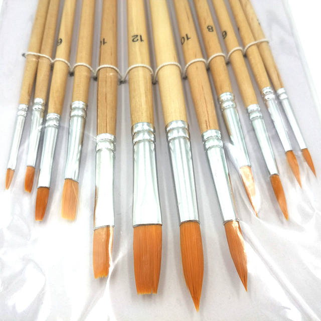 12Pcs/Lot Paint Brush Different Size Log color Nylon Hair Oil Painting Brushes Set for Watercolor Acrylic Drawing Art Supplie 4