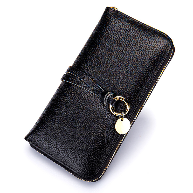 Luxury Designer Women Real Genuine Leather Wallet with Zipper Coin Pocket Card Organizer Clutch Wallets Long Female Purse Black 2016 new 100% genuine real python skin leather long size men wallets and purse beige black color zipper coin pocket card holder