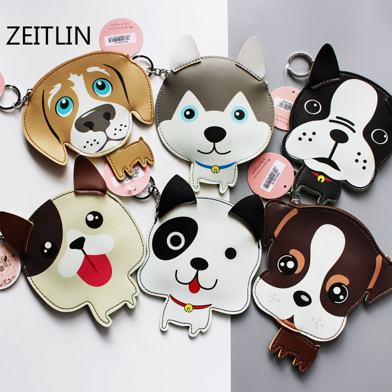 ZEITLIN New Cute Style Novelty 3D Animals Dog Zipper Plush Coin Purse Kawaii Children Coin Purse Women Wallet Mini Handbag T127 yiyohipu cute style chi s cat novelty beautiful gril zipper plush square coin purse kawaii children bag women mini wallet