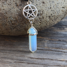 Pentagram and Crystal Necklace, Pentacle, Wiccan Jewelry, Pa