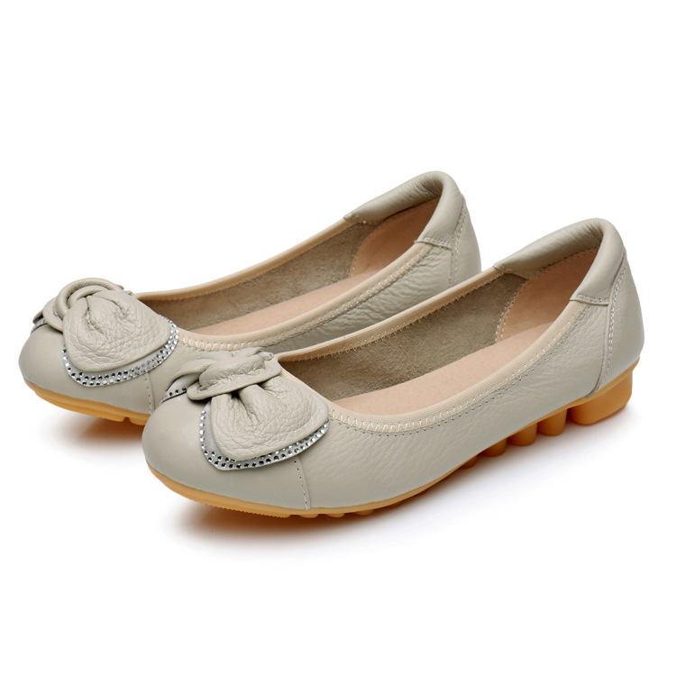 Women Casual Flat Shoes Genuine Leather Bow Shoes Office Shoes
