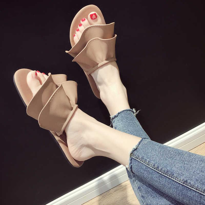 יוקרה מותג ביאן terlik ראפלס גבירותיי נעלי נשים חוף נעלי אישה עור כפכפים נשים נעלי קיץ 2019 ורוד שקופיות