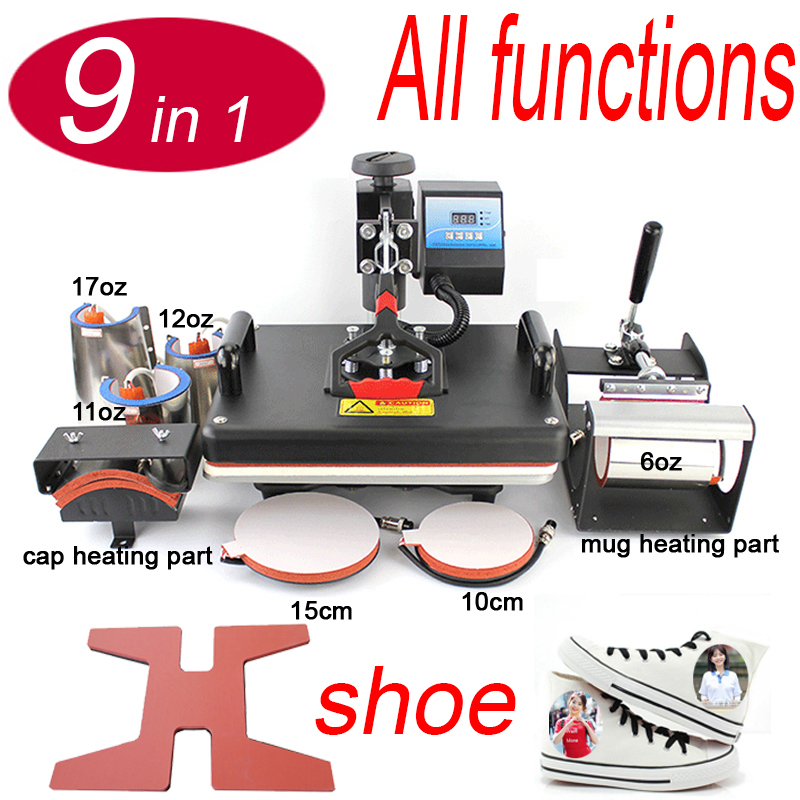 Factory 9 in 1 Combo Heat Press Machine Sublimation Thernal Heat Tranfer Printer For Mug/Cap/T shirt/shoe/bottle/Phone case/Rock 1