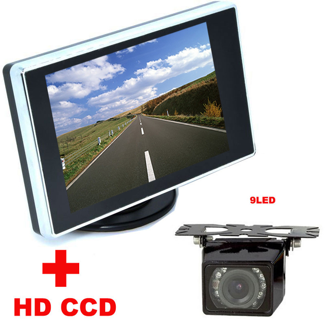 "4.3"" TFT LCD car Monitor + 9LED Car Rear view Camera HD CCD 170 Angle car backup camera 2 in 1 Auto Parking Assistance System"