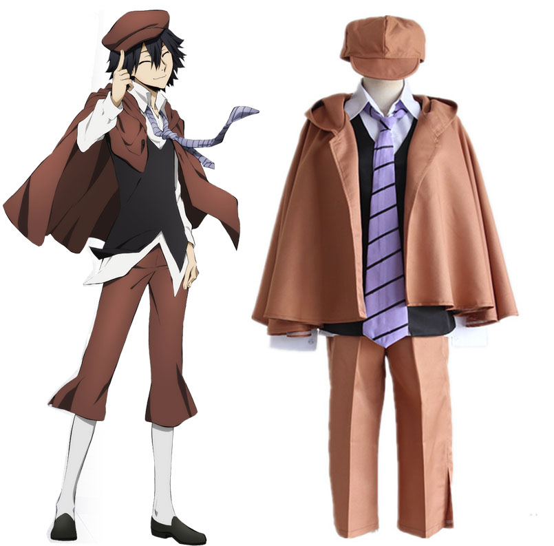 Anime Bungo Stray Dogs Edogawa Ranpo Cosplay Costumes Full Set Detective Uniform ( Cloak + Vest + Pants + Tie + Cap ) Size S-XL