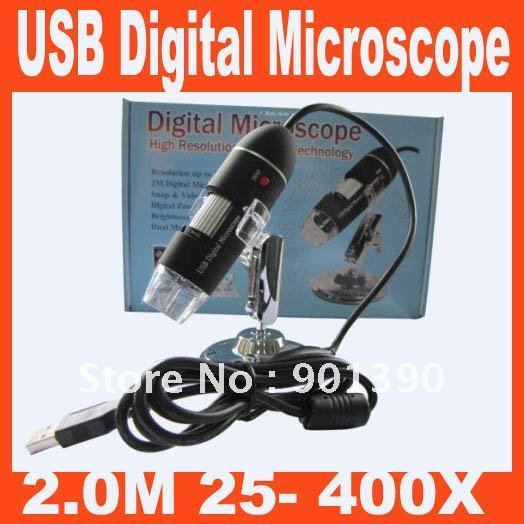 USB 25X AND 400X Digital Microscope Video Camera 2.0M Free Shipping