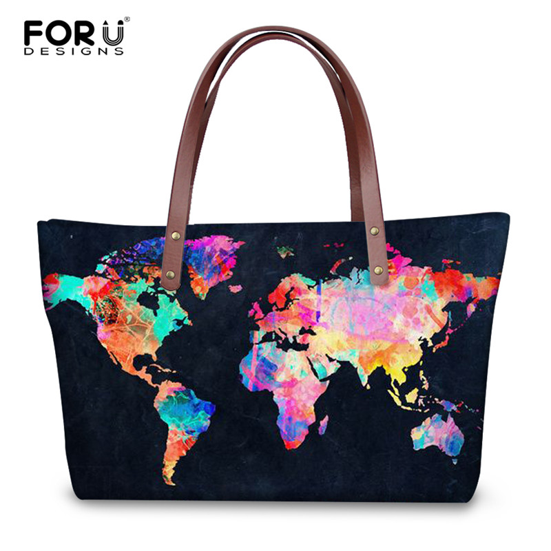 FORUDESIGNS Vintage Women's Handbags World Map Pattern Large Capacity Shopping Bags For Female Casual Beach Handbag Luxury Bag