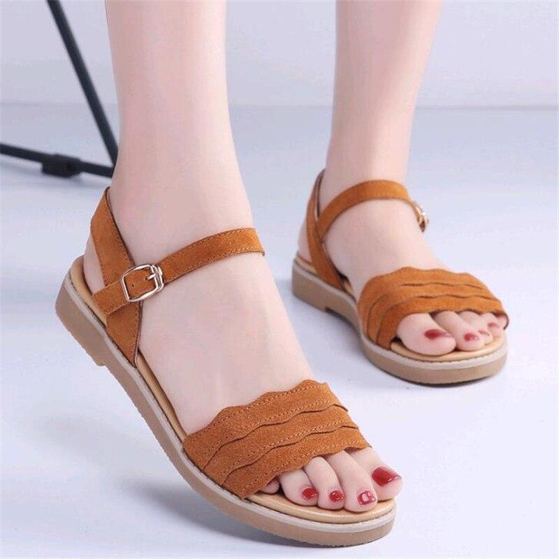 Sandalias Coreana Fondo 2019 Zapatos De Grueso Los marrón Salvaje Versión Verano negro Nueva Beige La Estudiantes Femenina FXq4pX
