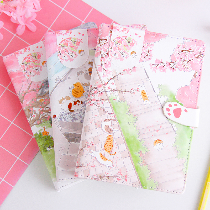 Cute Pink Sakura Cat Diary Leather Cover Notebook Japanese Planner Dot Grid Line Blank Color Page Papers Girls Gift Stationery