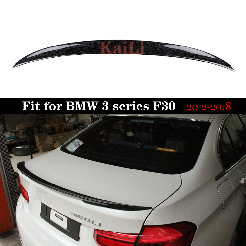 P Style Spoiler Forged Carbon Fiber Wing for BMW 3 Series F30 F80 M3 Forging Rear Trunk Boot Tail Lip
