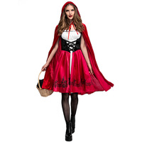 Adult Women Cosplay Little Red Riding Hood Costume Halloween Clothes Fancy Carnival Ladies Robe Sexy Dress&Cape Outfits Set