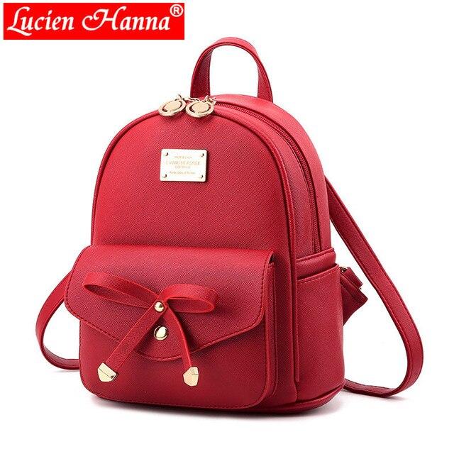 6916afe87f491 الشباب لطيف البسيطة الكتف حقيبة الأحمر القوس الحقائب المدرسية ل المراهقات  بو الجلود عودة حزمة الأطفال