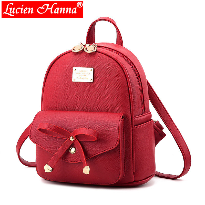 Youth Cute Mini Shoulder Bag Red Bow School Bags For Teenage Girls PU Leather Back Pack Children Backpacks Women Pretty Backpack tegaote new design women backpack bags fashion mini bag with monkey chain nylon school bag for teenage girls women shoulder bags