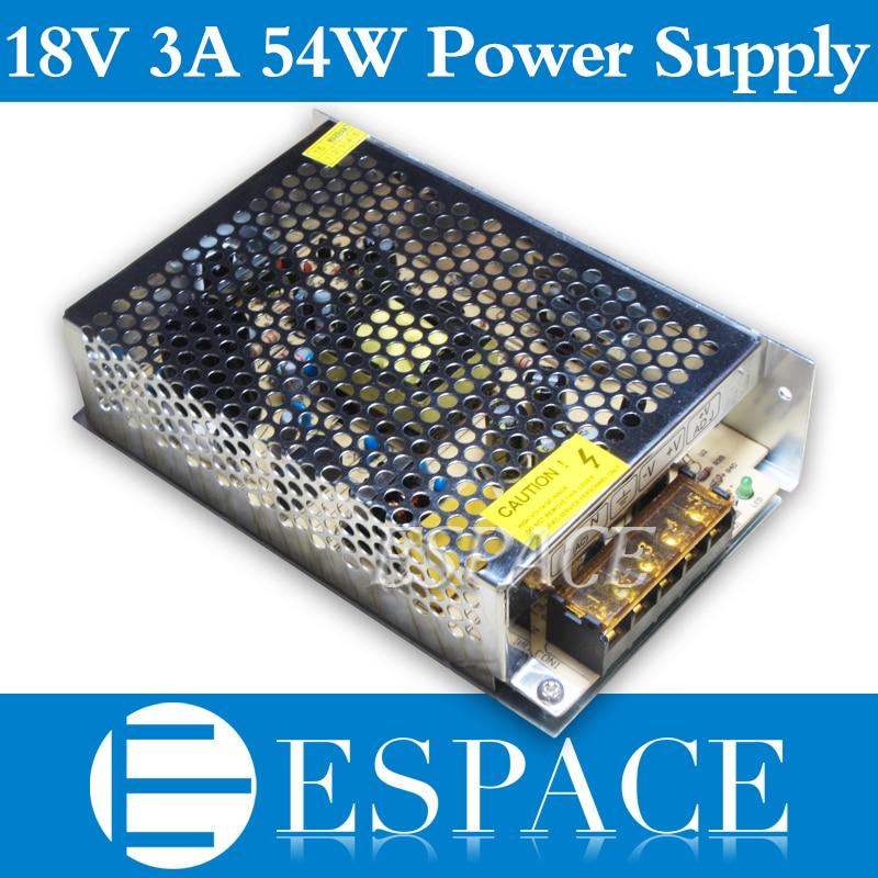 20pcs/lot 18V 3A 54W Switching Power Supply Driver for CCTV camera  LED Strip AC 100-240V Input to DC 18V free DHL 4pcs 12v 1a cctv system power dc switch power supply adapter for cctv system
