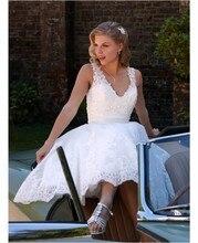 Custom Made A Line V Neck Bridal Dresses Appliques Beaded Short Wedding Dress Vestidos De Novia Bridal Gowns abiti da sposa