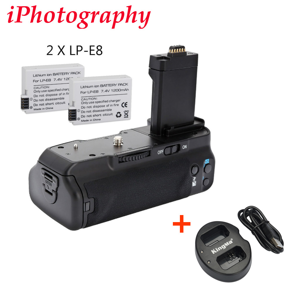 MeiKe MK-550D BG-E8 Batterie Grip pour Canon 550D 600D 650D 700D + 2x LP-E8 + 1x LP-E8 chargeur double USB