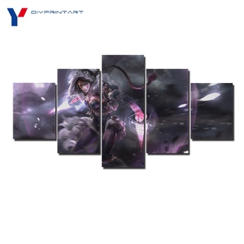 Magic Assassin Templar Lana 5 Panel Wall Art Canvas Prints DOTA 2 Game Pictures for Living Room A0318