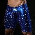Bronzing Sexy Men's Fashion Shorts Gay Penis Pouch Wonderjock Brand men Board Shorts Men Bottoms Shorts Print Blue Color Shorts