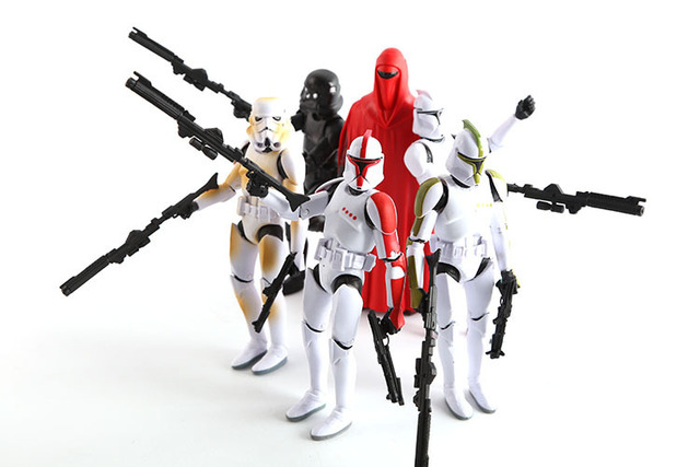 16cm Big Size Star Wars Figure 6pcs/sets Stormtrooper Clone Trooper Black Knight Darth Vader Star Wars Action Figure With Gun