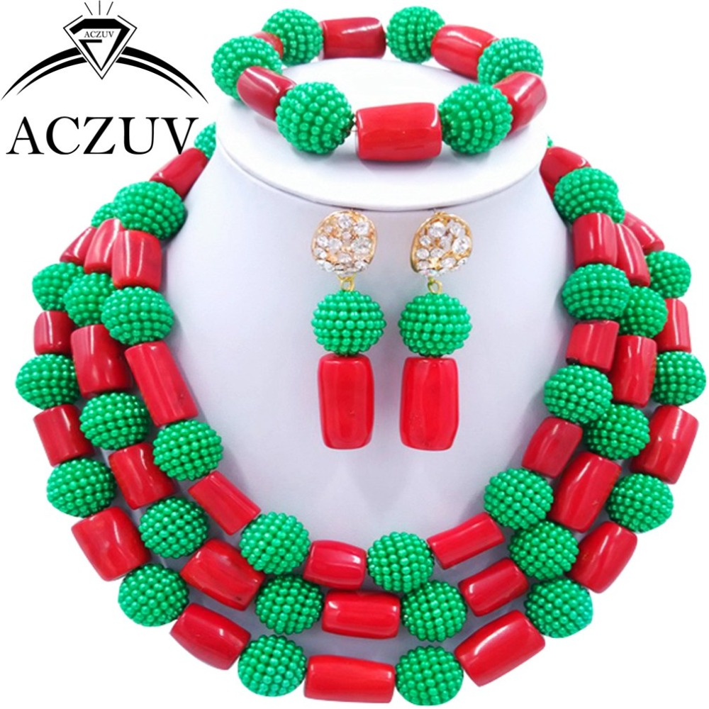 Brand ACZUV Green Imitation Pearl and Red Nigerian African Wedding Coral Beads Necklace Jewelry Set For Women AN074Brand ACZUV Green Imitation Pearl and Red Nigerian African Wedding Coral Beads Necklace Jewelry Set For Women AN074