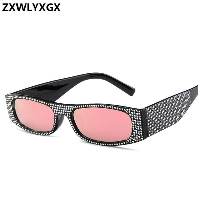 ZXWLYXGX Small square sunglasses women imitation diamond sung lasses Retro evening glasses cross fashion sunglasses UV400 3