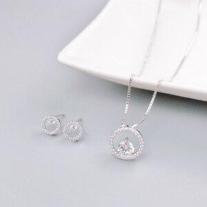 Набор свадебных украшений из 100% серебра 925 пробы Warme, серьги-гвоздики из сваровского циркония, подвески и ожерелья