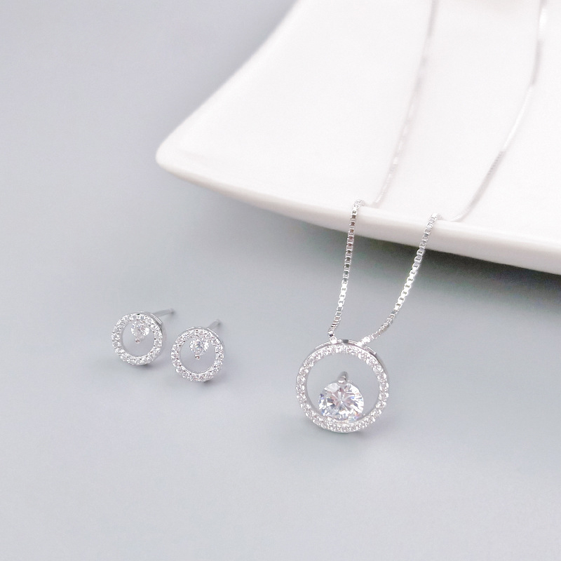 Warme Farben 100% 925 Silver Jewelry Set Crystal From swarovsky Stud Earrings Zircon Pendant Necklaces Jewelry for wedding Gifts