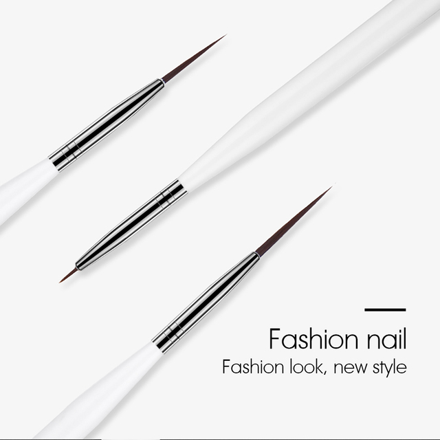 ROHWXY 3Pcs/Set Nail Art Brushes Acrylic French Painting Brush Flower Design Stripes Lines Liner DIY Drawing Pen Manicure Tools 1
