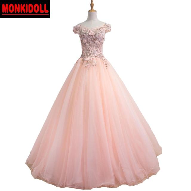 Romance Cap Sleeves Peach Prom Dress Ball Gowns Corset Prom Dresses ...