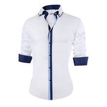 2018 New Men's Casual Shirt Slim Fit Cotton Formal