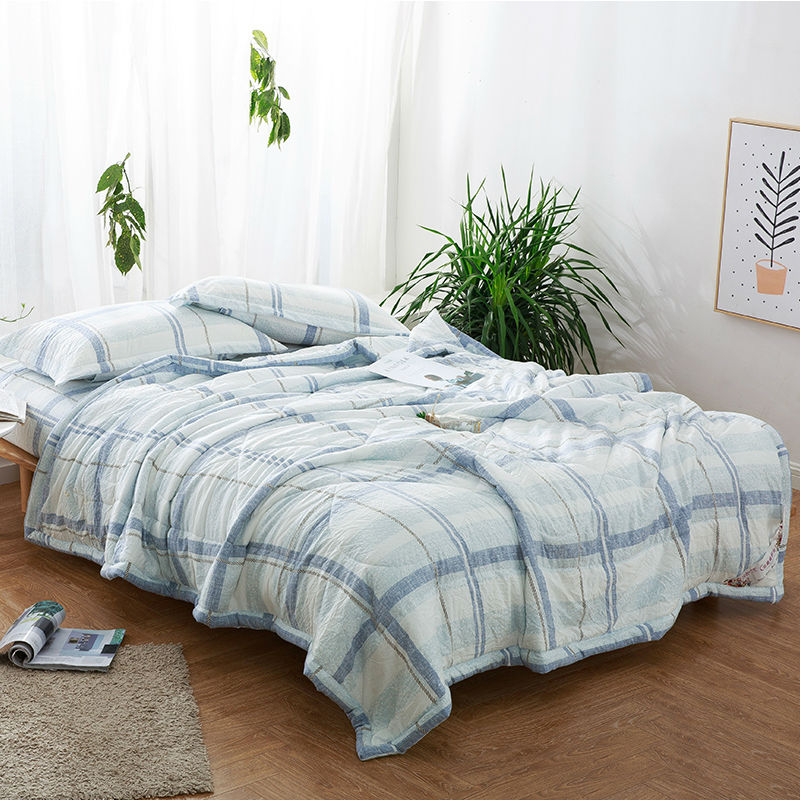 New Japan Style Summer Quilts Bedding Set Stripes Plaid Quilted