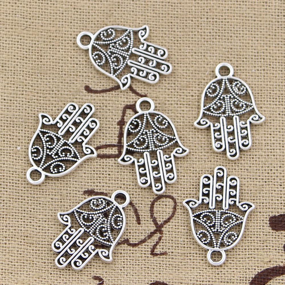 30pcs Charms Hamsa Palm Protection 20x15mm Handmade Pendant Making fit,Vintage TibetanBronze,DIY For Necklace 1