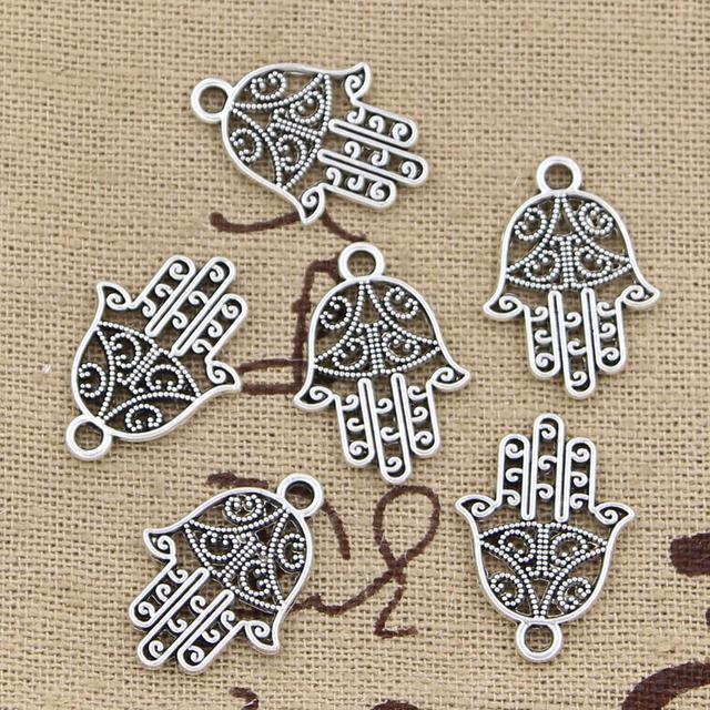 30 piezas encantos hamsa palm protección 20x15mm hecho a mano artesanía colgante haciendo ajuste Vintage plata tibetana. DIY para collar de pulsera