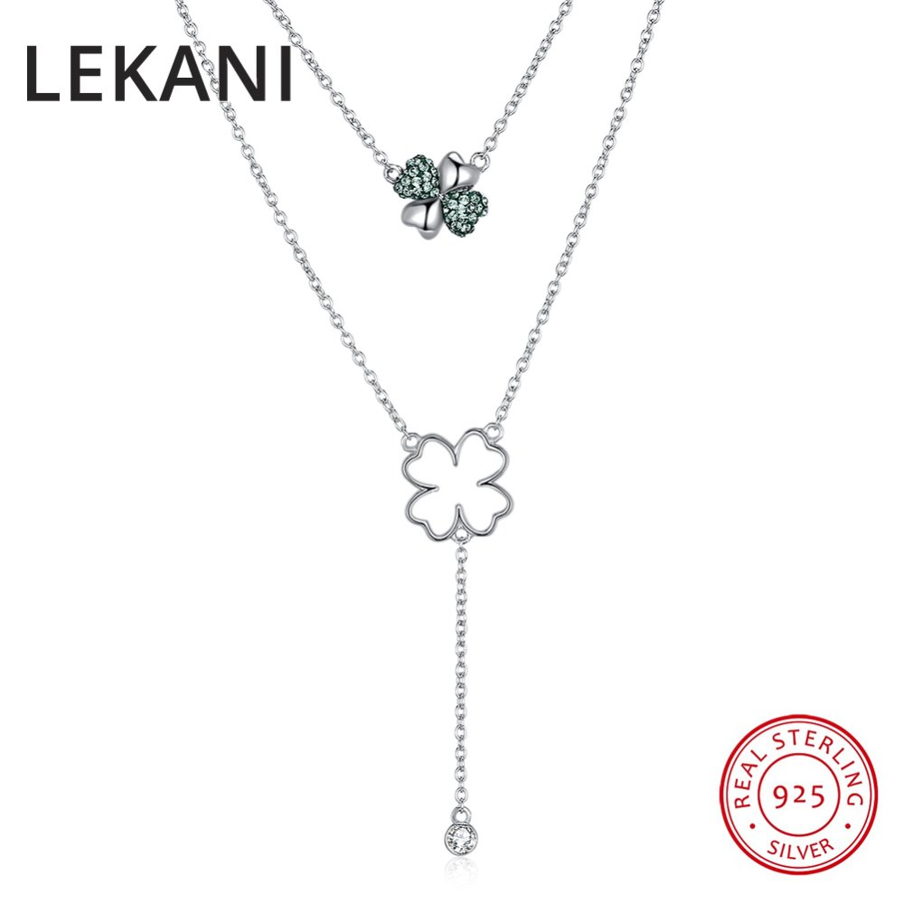 LEKANI Crystals From Swarovski Classic Clover Pendant Necklaces For Women Wedding Gifts 925 Silver Fine Double Chain ChokerLEKANI Crystals From Swarovski Classic Clover Pendant Necklaces For Women Wedding Gifts 925 Silver Fine Double Chain Choker