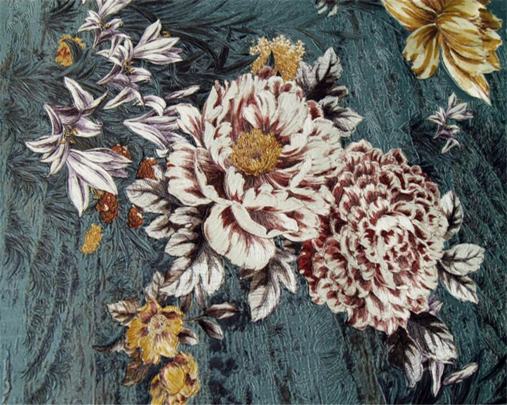 Beibehang High-end 3D embroidery three-dimensional thickened wallpaper living room bedroom embroidery background 3d wallpaper beibehang chinese high end 3d