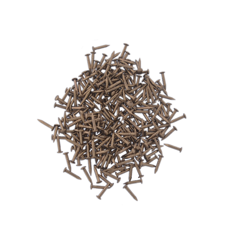 8X1.2MM Chinese Archaize Round Head Gold Antique Pure Copper Bronze Wooden Screw Nails for Furniture DIY Decorative Boxes 500pcs