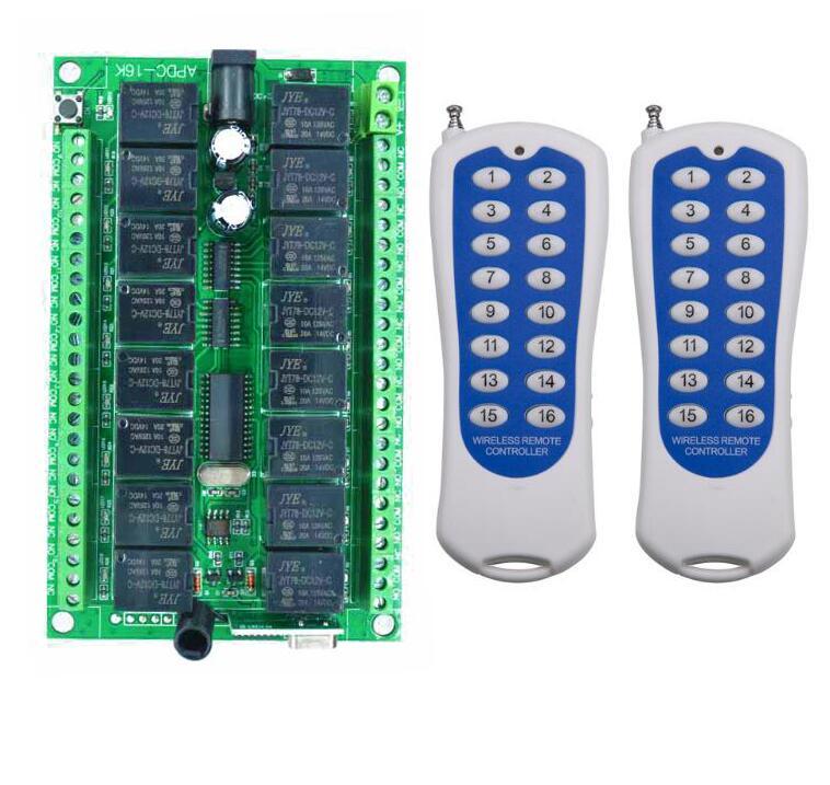 1000 M longue portée DC12V 24 V 16CH Radio contrôleur RF télécommande sans fil commutateur système émetteur + récepteur lampe/volets