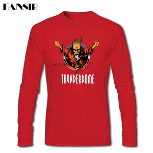 Image 3 - גברים חולצה O צוואר ארוך שרוול כותנה Thunderdome מוסיקה באיכות גבוהה T חולצה לגברים