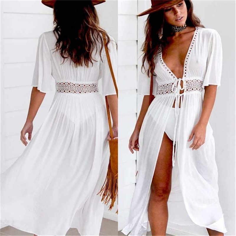 744faaed0a 2019 moda kobiety haft okrycie plażowe się długa sukienka Sexy głębokie V  Neck kostek kobiety biały