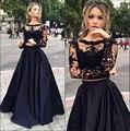 Длинные рукава черное кружево 2 шт. пром платья 2017 талия сплит вечернее платье размер 0 обычай делать