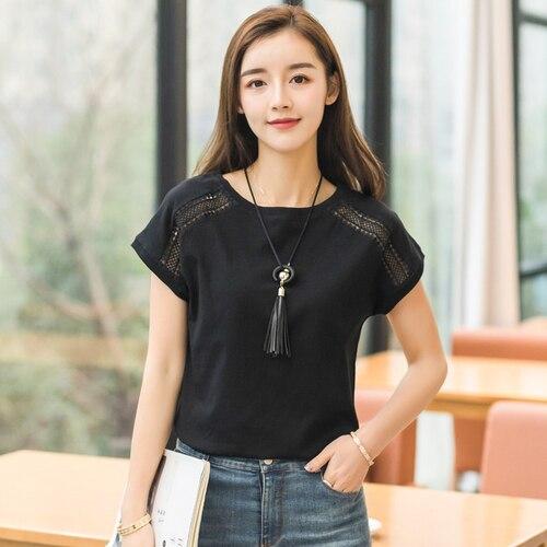 Talla Negro Manga Algodón Encaje 2018 Para Coreana Tops Camisas Mujer Cielo Mujeres Murciélago Blusas azul De blanco Grande Ropa Verano nqvEIxaIA