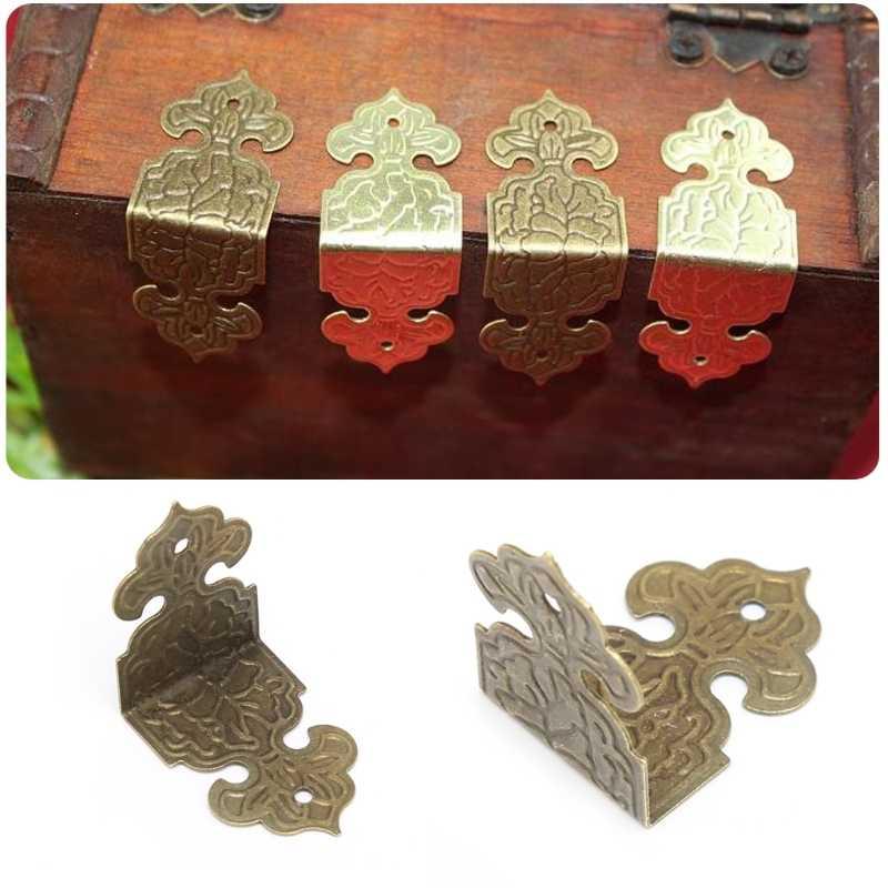 12xAntique brąz dekoracyjna biżuteria pudełko z drewna stopy nogi ochraniacz narożny