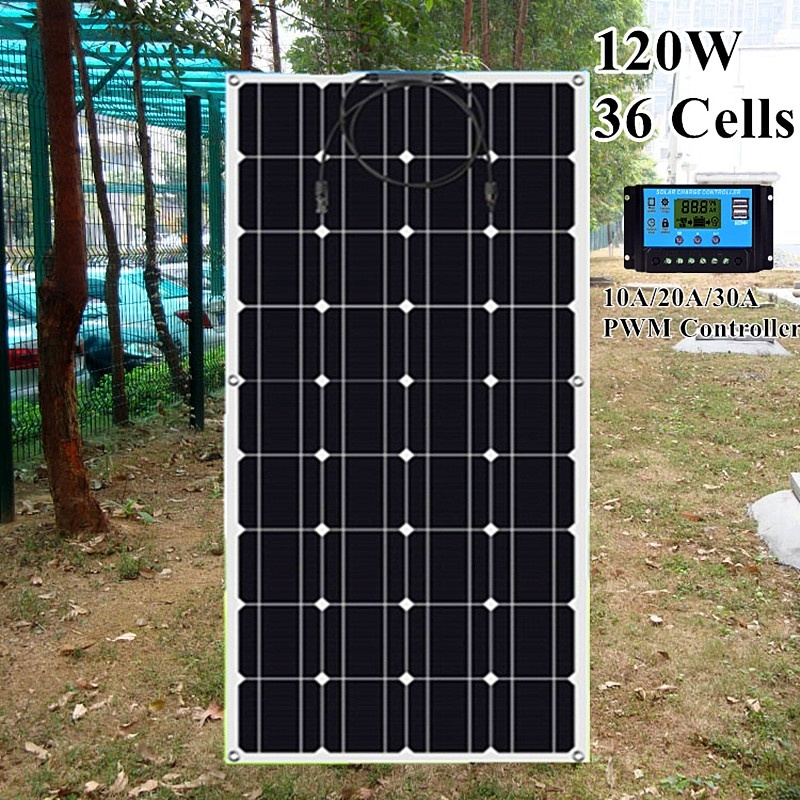 XINPUGUANG 120W 36 Cells 18V Waterproof <font><b>Solar</b></font> <font><b>Panel</b></font> <font><b>120</b></font> <font><b>WATT</b></font> with 10A 20A 30A controller for RV Boat Camping 12V <font><b>Solar</b></font> Charging image