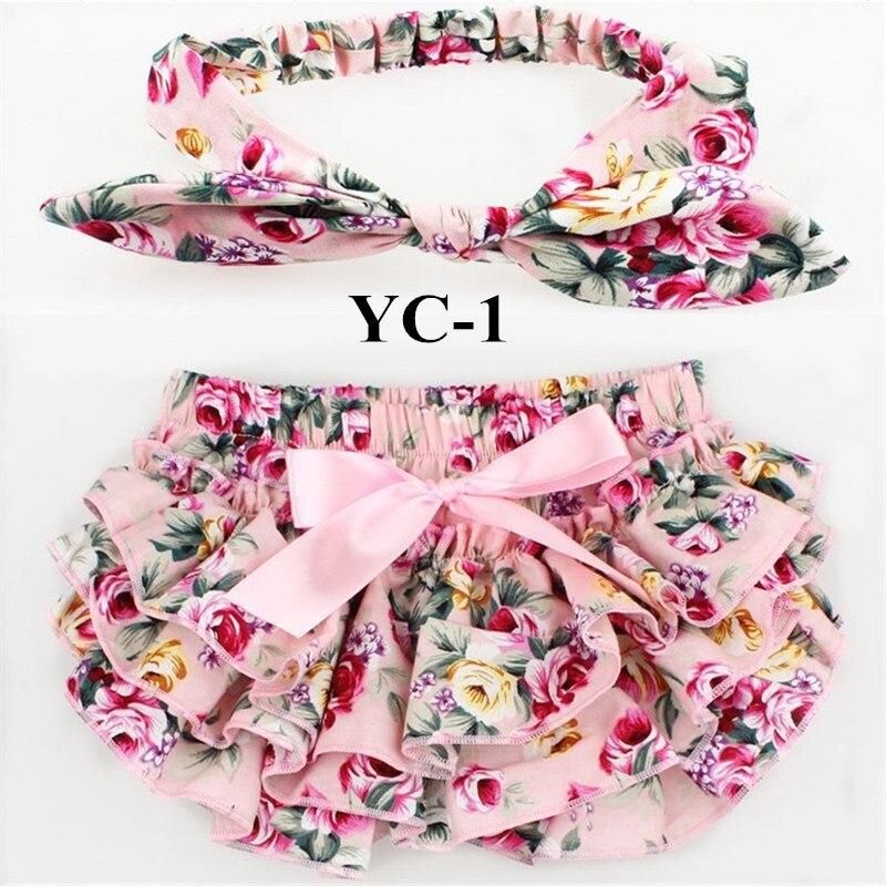 10sets lot bloomers sets Cotton fabric bow headbands set Diaper Covered Ruffled Panties Shorts Culottes bebe