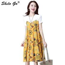 Linen Dress Women Summer Casual Patchwork Short Sleeved Cotton Loose Flower Print Pockets A Line dress maxi dresses