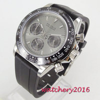 Safira cristal 39mm parnis japonês quartzo movimento relógio masculino multi-função relógios de quartzo
