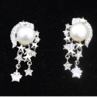 Sterling Jewelry Sale Classic 925 Silver Stars Pearl Earring For Women Fashion Jewelry Earrings Set