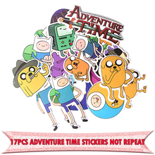 17pcs Adventure time cartoon funny DIY scrapbooking album Luggage Laptop Motorcycle notebook decal Waterproof Stickers E0072