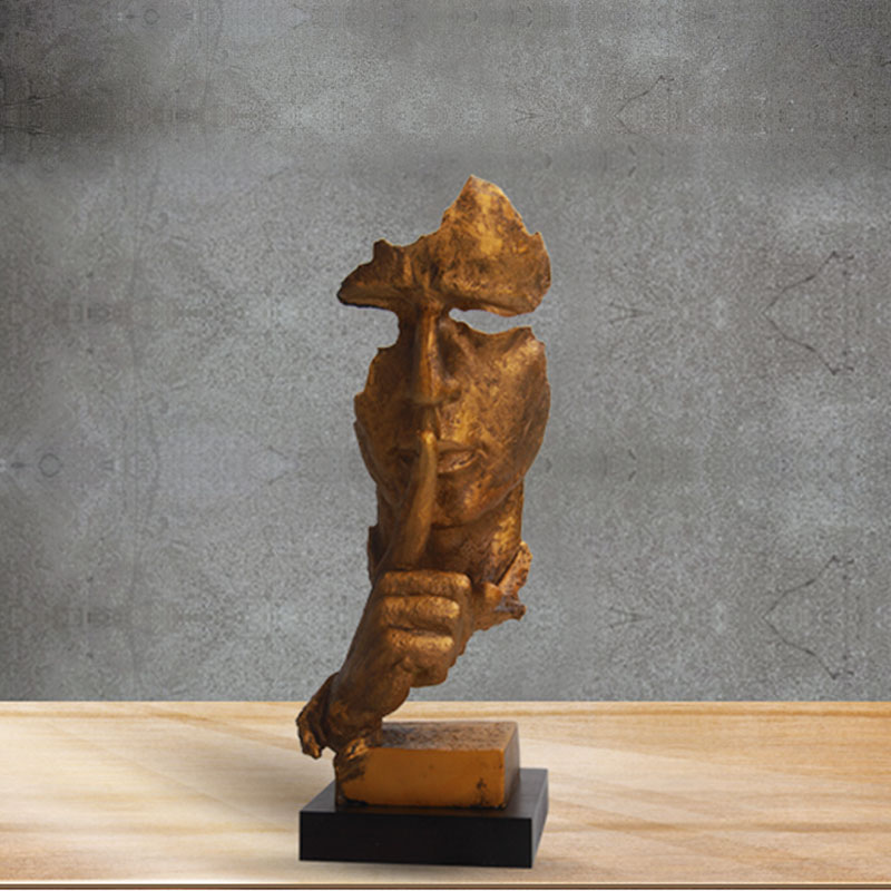 American Rustic Style Retro Sculpture Of Silence Is Gold Face Peple