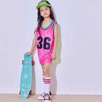 New fashion girl jazz modern dance costumes girls sequins fluorescent pink vest street dance performance clothing